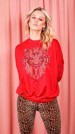 Tiger Printed Sweatshirt Jumper - Red