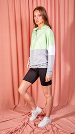 Contrast Colour Block Zip Front Hoodie - Green