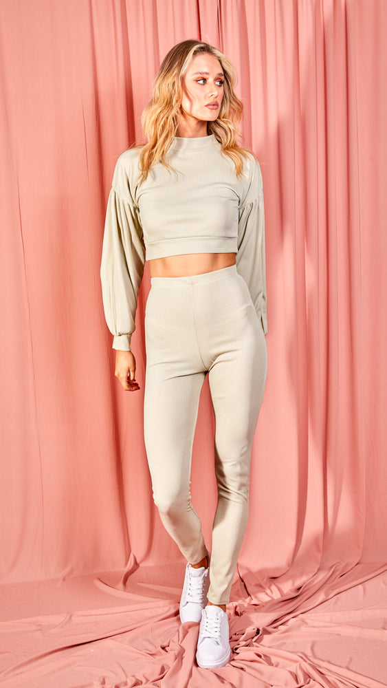 Ribbed Balloon Mint Green Sleeve Top & Trouser Co-ord