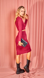 Wine Rib Knit Long Sleeved Crop Top & Midi Skirt Co-ord Set
