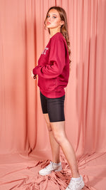 Saint Slogan Oversized Sweatshirt - Wine
