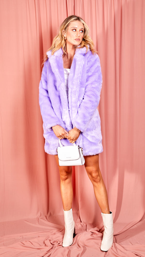 Purple Faux Fur Coat