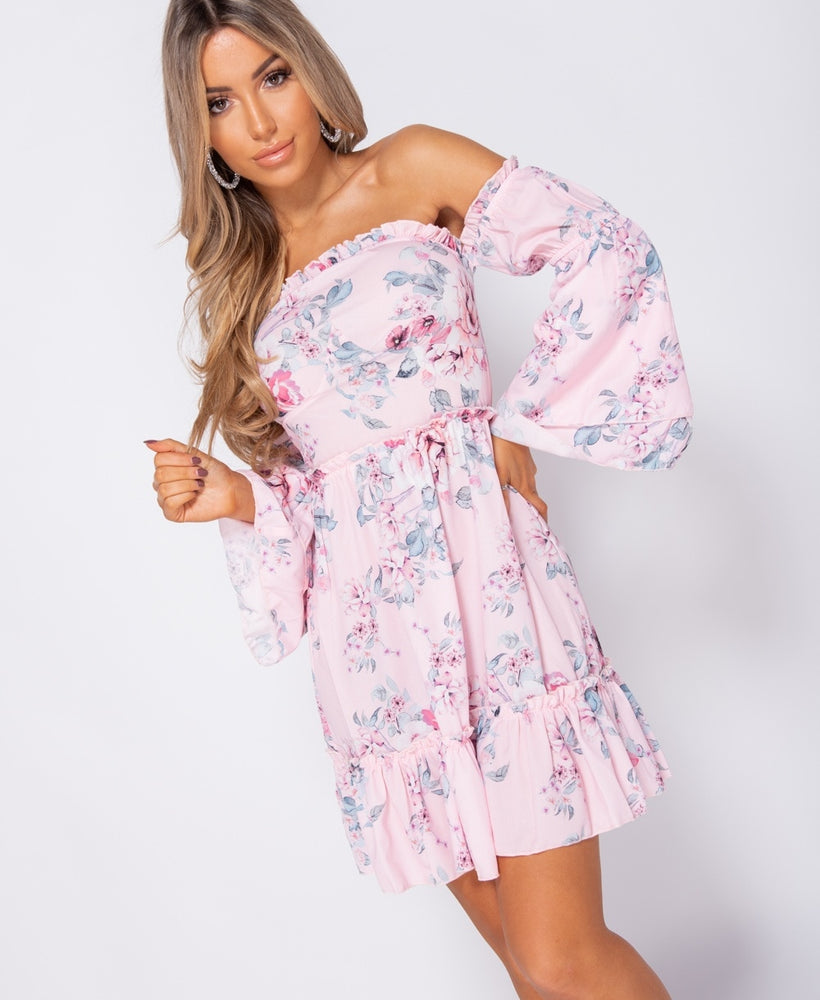 Florence Floral Frill Detail Bardot Mini Dress