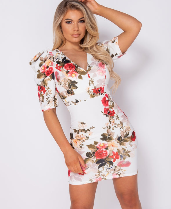 Pippa Floral Print Puffed Sleeve Open Back Bodycon Mini Dress