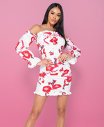 Alexandra Floral Ruching Detail Long Sleeve Bardot Dress