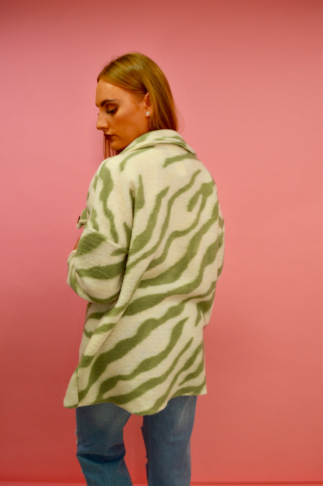 Green & White Zebra Print Shirt Jacket