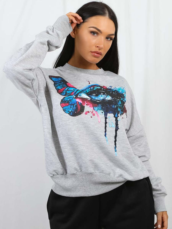 Butterfly Eye Graphic Sweatshirt Jumper