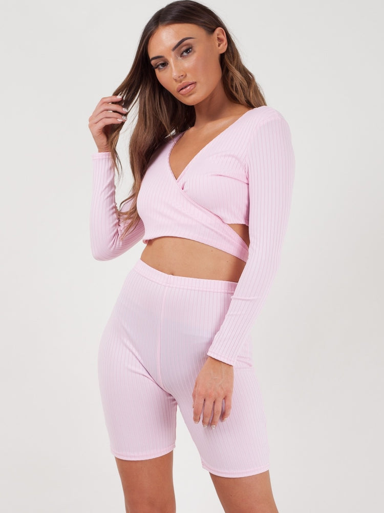 Baby Pink High Waisted Ribbed Bicycle Short