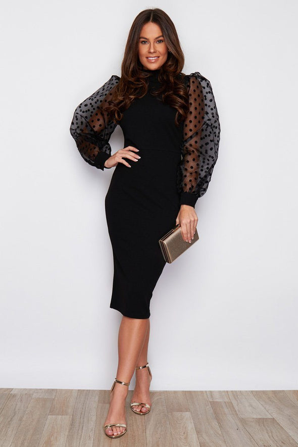 Black Puff Sleeve Polka Dot Dress