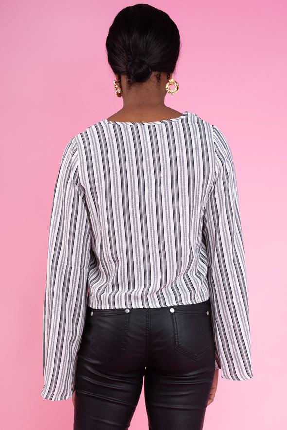 Sophia Bell Sleeve Striped Top - Black & White