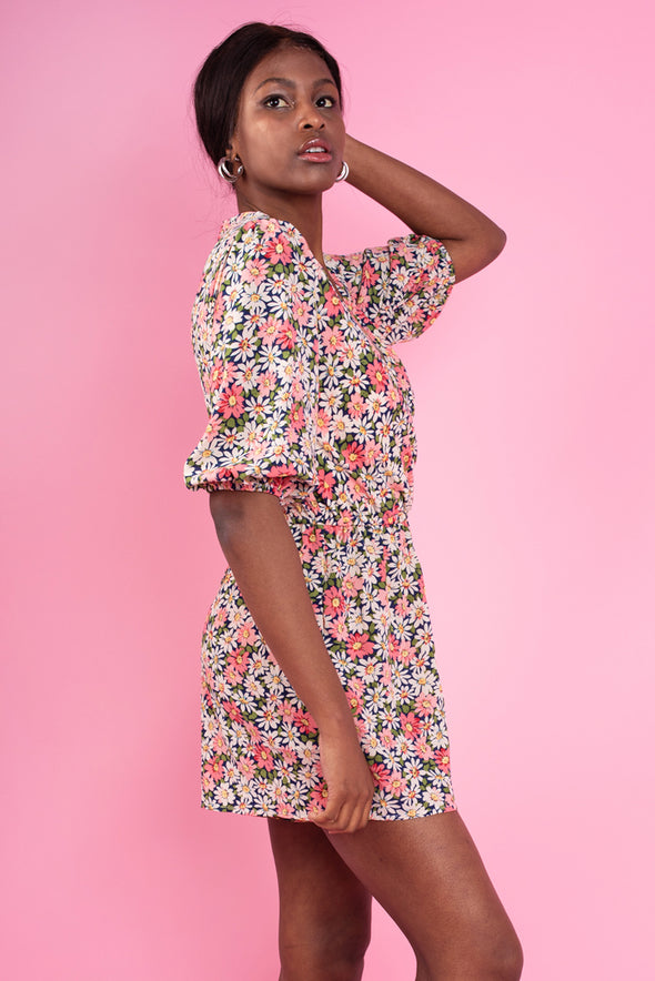 Pink Floral Long Sleeve Wrap Playsuit