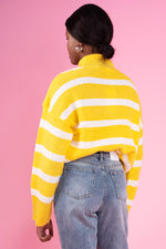 Frenchie Yellow and White Stripe Polo Neck Jumper