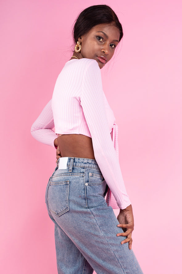 Baby Pink Tie Ribbed Cropped Top