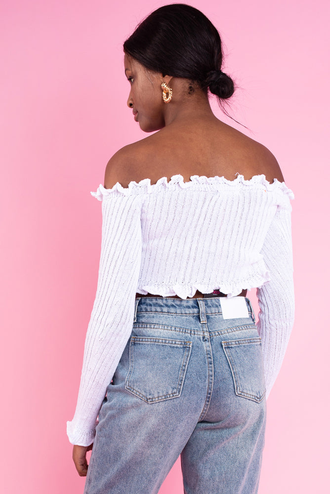 Daphnea Ruffle Bardot Ribbed Top White