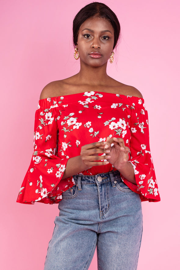 Nicole Off the Shoulder Floral Top - Red