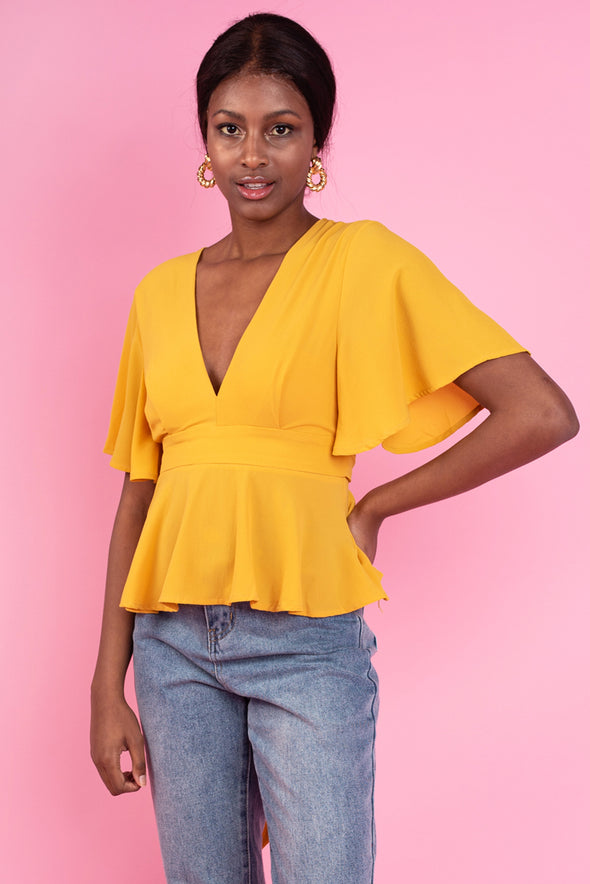 Ann Back Lace Top - Yellow