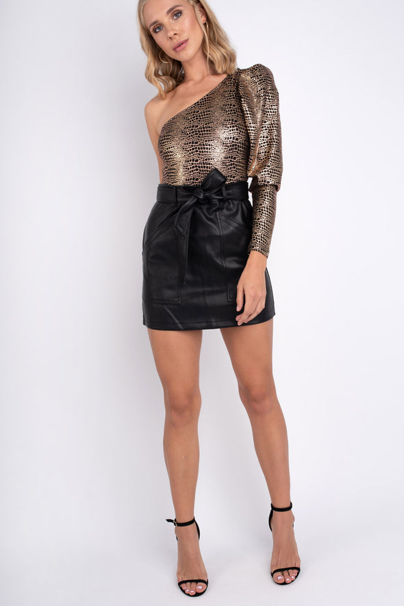 Leather Tie Skirt