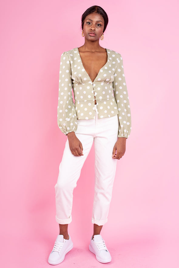 Emma Polka Dot Top Front Buttons - Grey