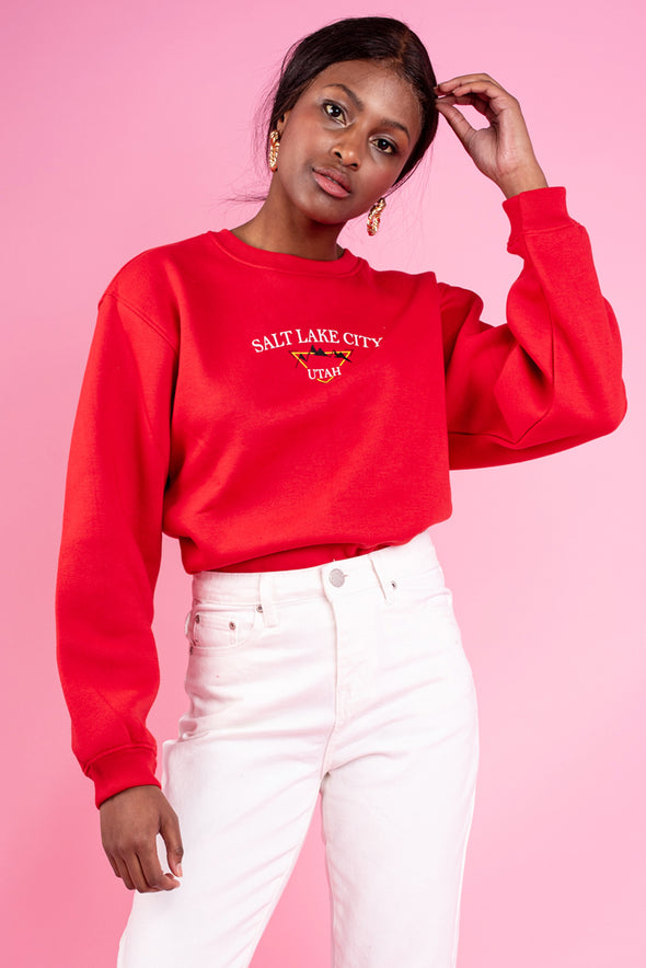 Abbie Utach Patch Print Boyfriend Sweat- Red