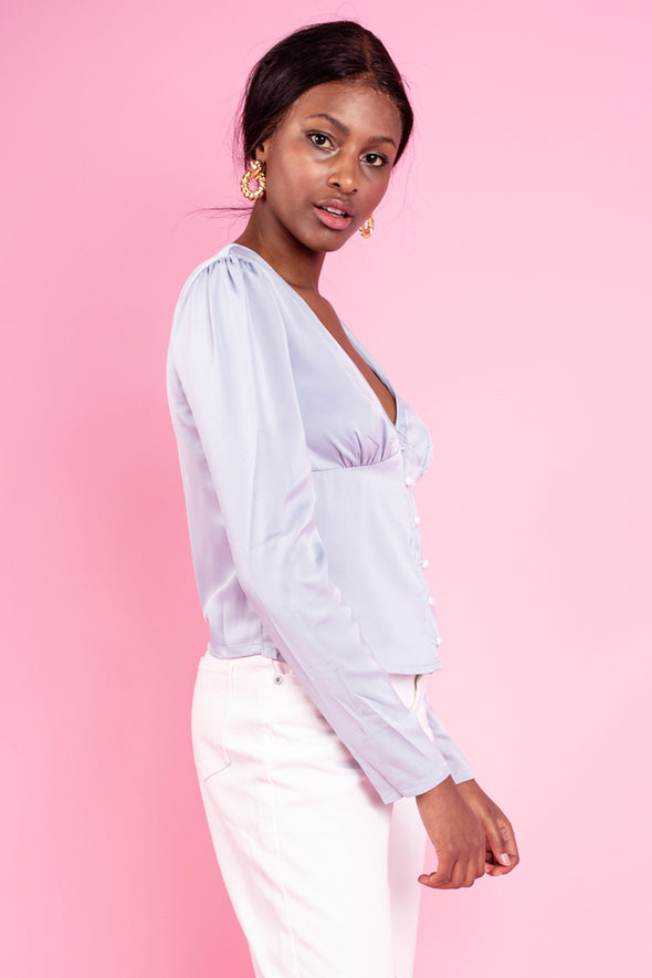 Baby Blue Satin Blouse