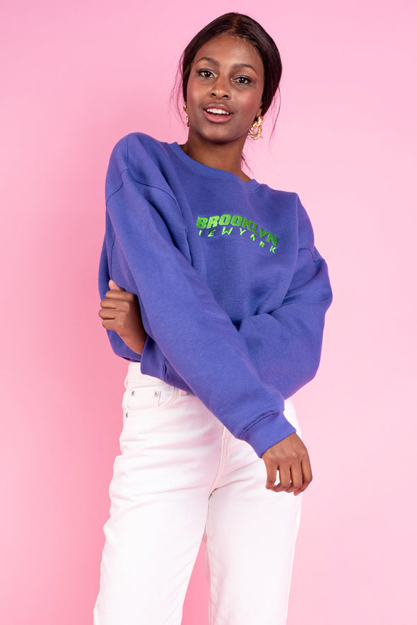 Brooklyn Ebroidery Boyfriend Sweat- Purple