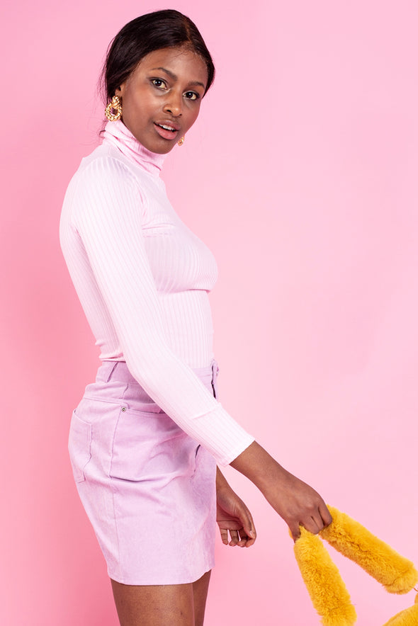 Pastel Pink Ribbed Polo Neck