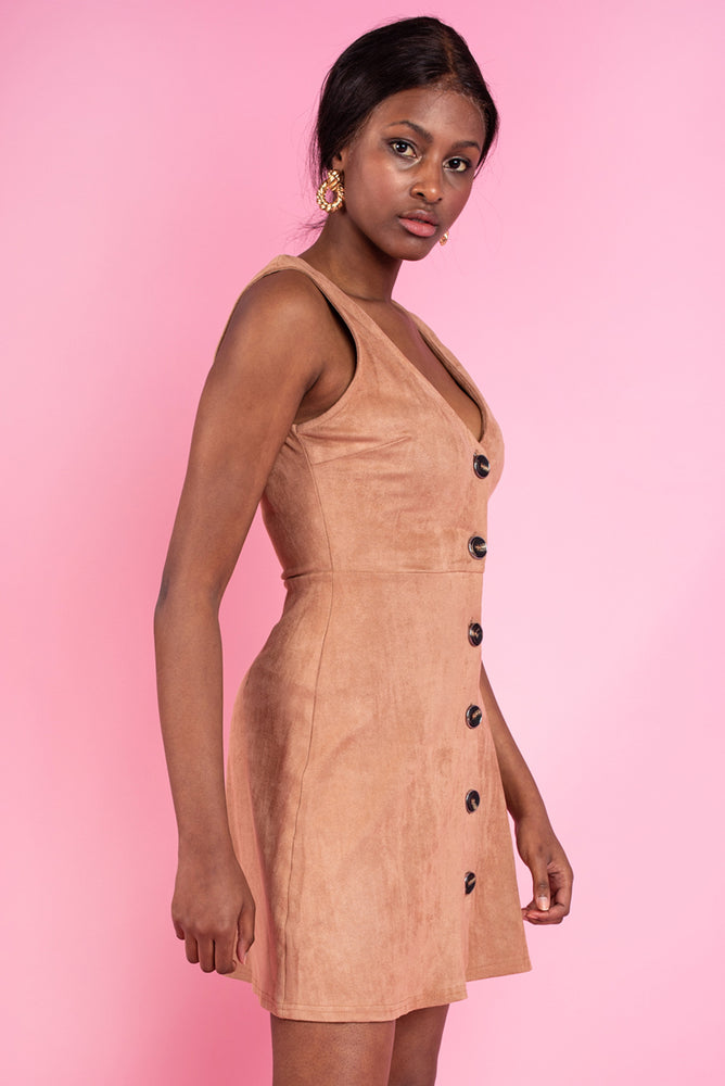 Sinead Button Front Dress - Brown