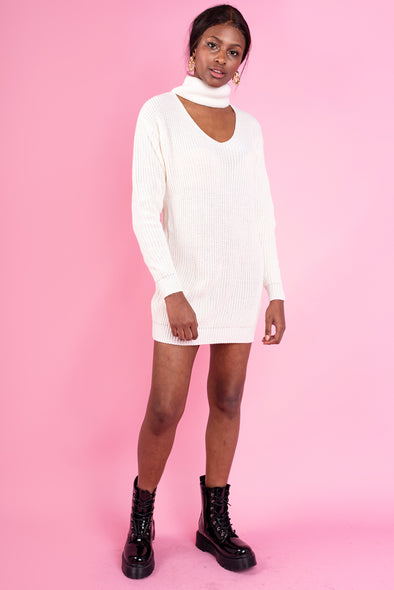 Bia Knitted Cut Out Neck Dress - White
