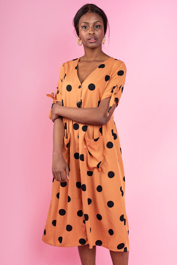 Elba  Polka Dot Button Front Dress - Orange