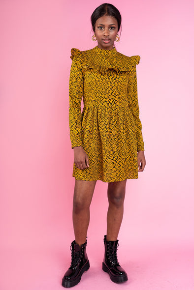 Mustard Polka Dot High Neck Dress