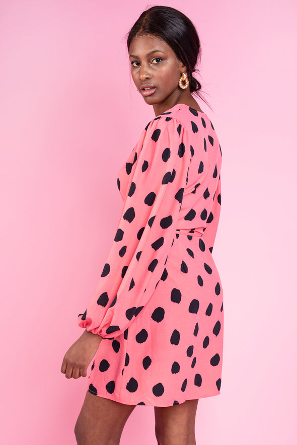 Dottie Pink & Black Dalmation Print Dress