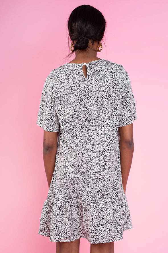 Black & White Printed Frill Hem T-Shirt Dress