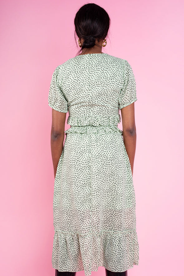 Sage Spot Print Ruffles and Button Detail Midi Tea Dress
