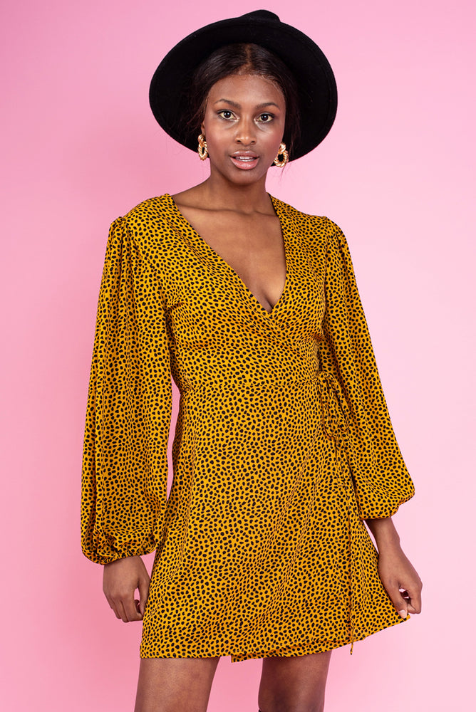 Susan Robe Printed Dress - Mustard