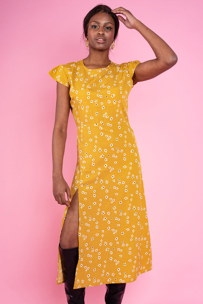Angelina Floral Print Off Leg Dress - Yellow