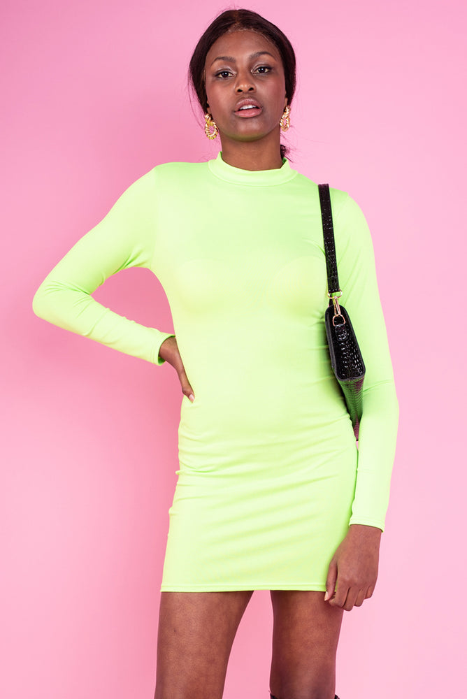 Ruth Bodycon Dress - Neon Lime