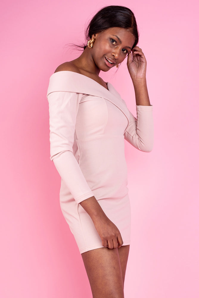 Nicole Off the Shoulder Bodycon Dress - Baby Pink