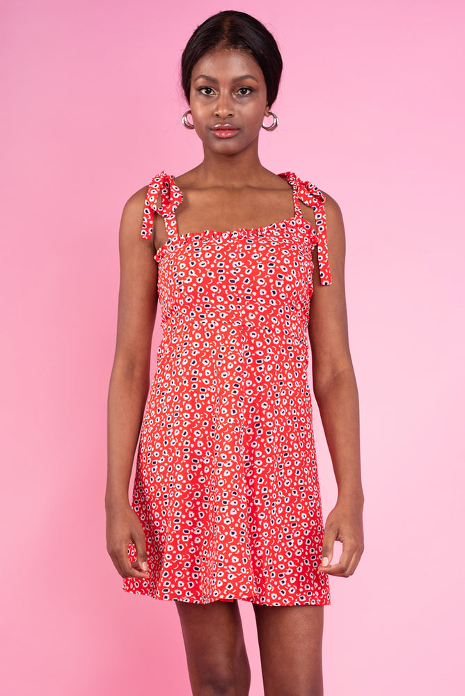 Zoey Printed Dress - Red