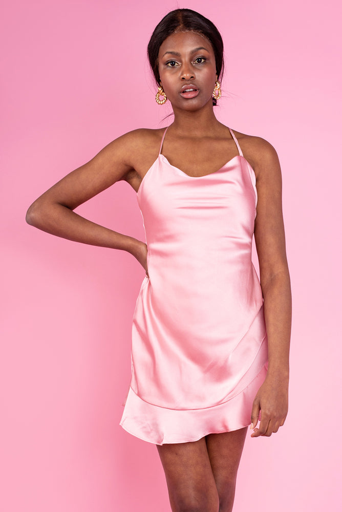 Rose Satin Mini Slip Mock Dress Playsuit