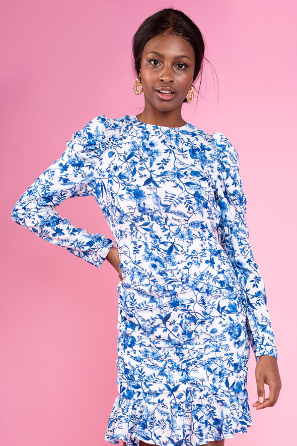 Blue & White Multi Print Statement Back Dress