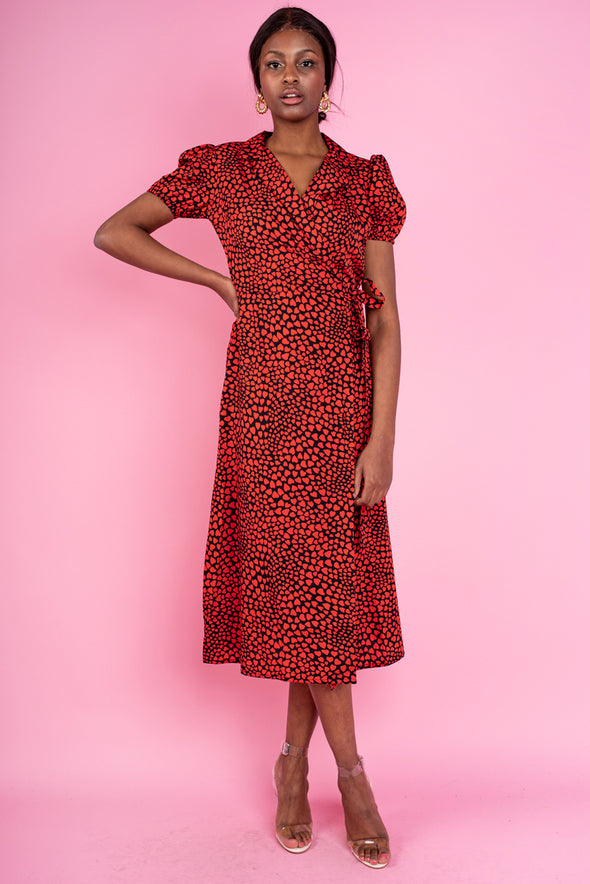 Eva Heart Printed Dress