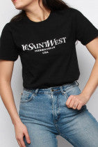 Ye Saint West Slogan Oversized T-Shirt Black