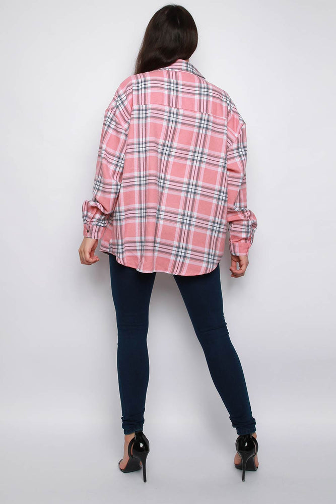 Check Brushed Flannel Shirt - Pink