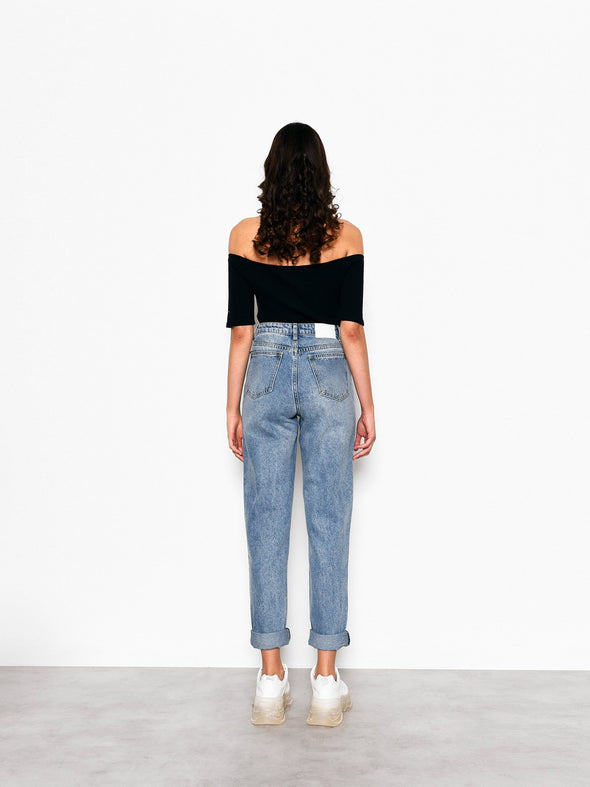 Mid Stone Leah Mom Jeans