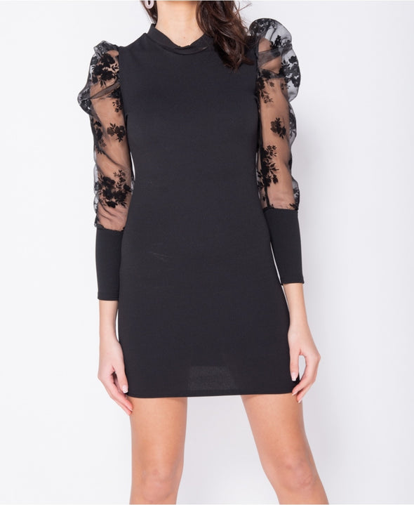 Sheer Floral Print Organza Sleeve Bodycon Mini Dress