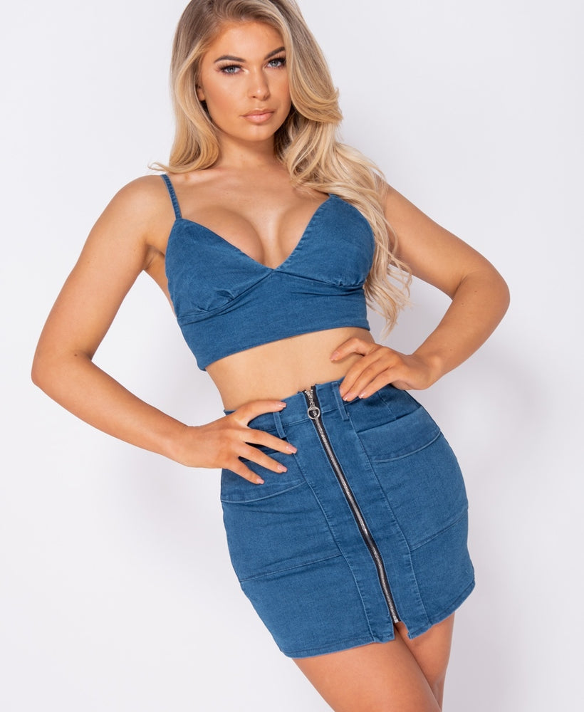 Sally Stretch Denim Zip Detail Co Ord Set