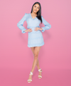 Tia Tiered Detail Long Sleeve Cut Out Back Mini Dress
