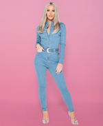 Jenny Western Belt Detail Long Sleeve Denim Jumpsuit