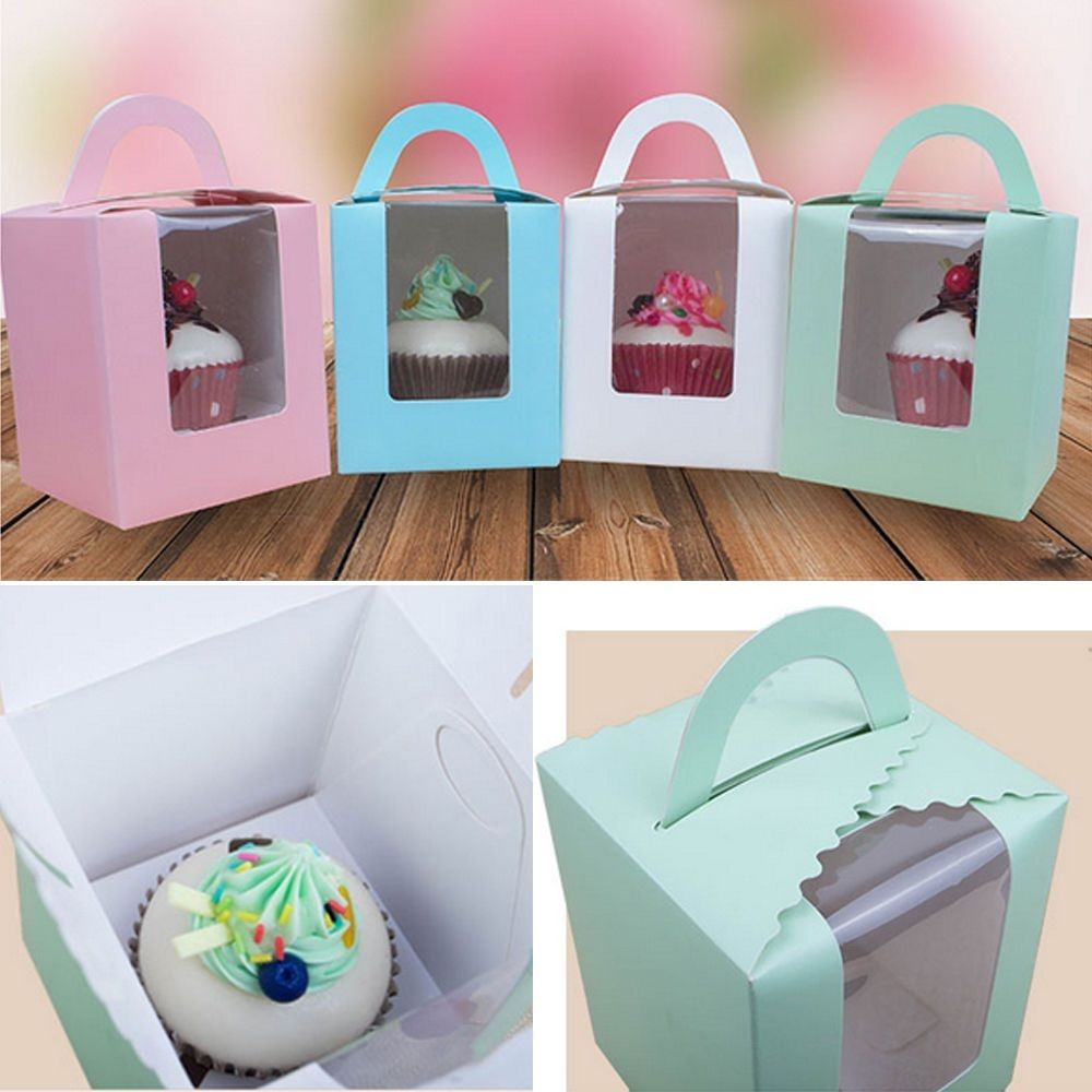 Cupcake Muffin Fairy Cake Boxes 10Pcs Single Bags With Clear Windows Boxes