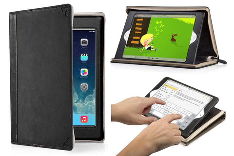 Book case for iPad mini with view of how it can be used on the right side
